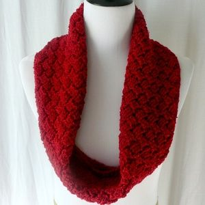 Hand Crochet Red Basket Weave Cowl Neck Scarf